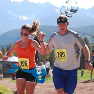 A couple runs a 10K at Vail