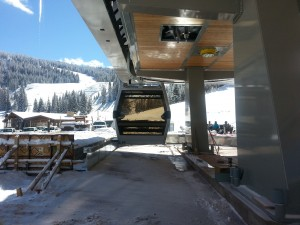 New gondola cabin in snow