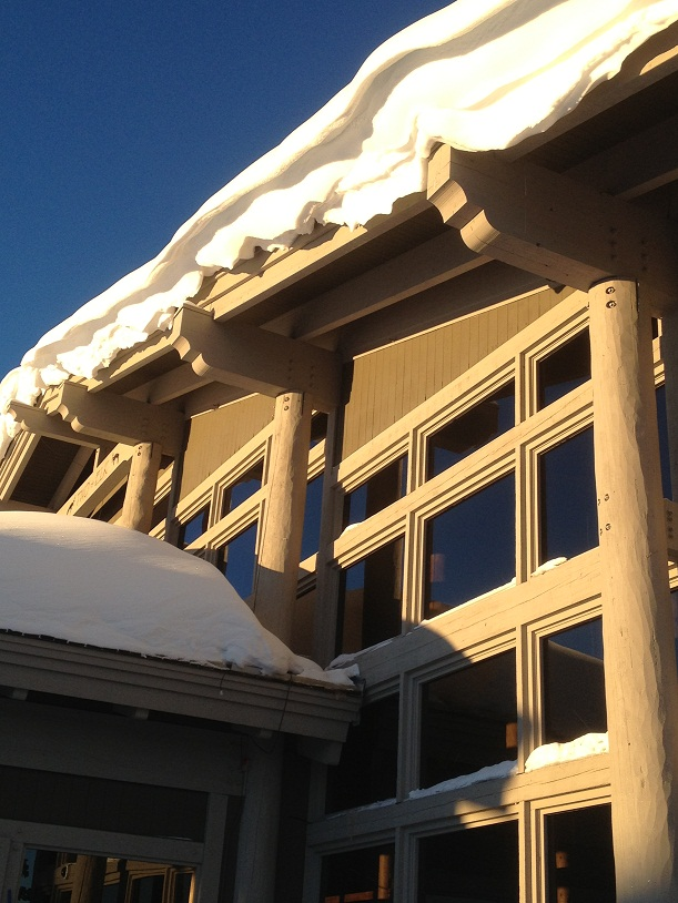 Snow on eaves
