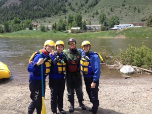 Benjamin (right) after conquering the Class Four Rapids of the Upper Eagle River.