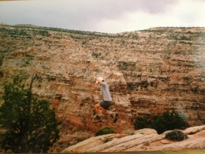 Showing off on a college backpacking trip.