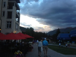 A dramatic sky as scene from the decks of Tavern on the Square and Vail Chophouse.