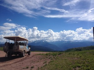 The Adventure Ridge Mountain Tour bus at the top of China Bowl.