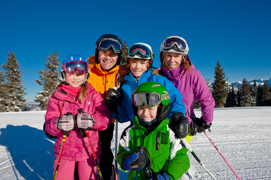 Skiing together as a family