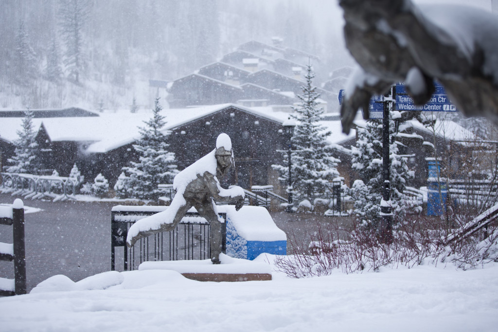 Snow in Vail Village November 11