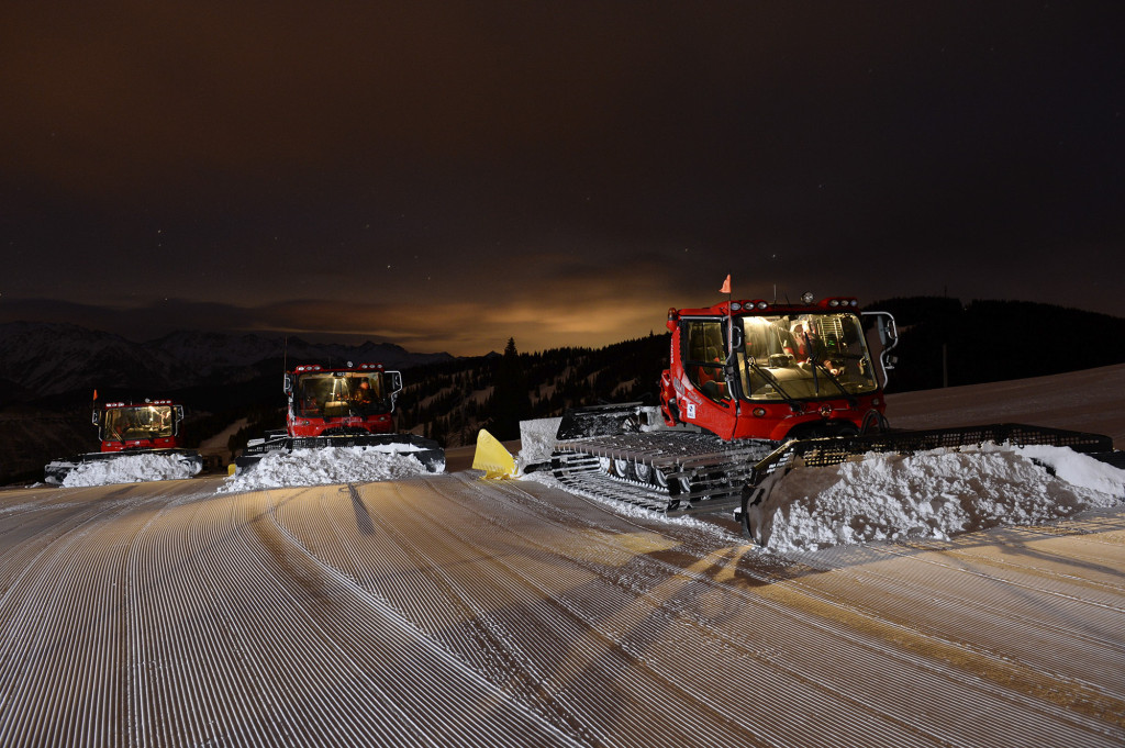 Night grooming on Vail Mountain, Colorado.